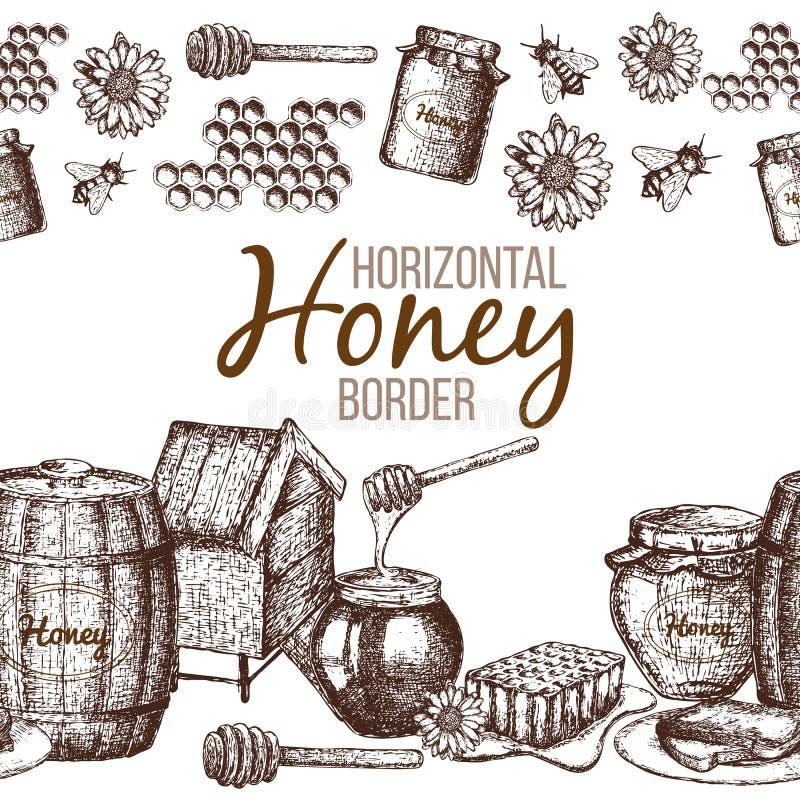 Gräns av honung stock illustrationer