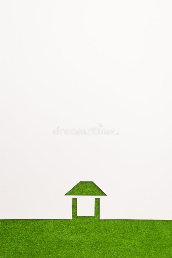 Gräns av lätt husbakgrund för grön sammet arkivfoto