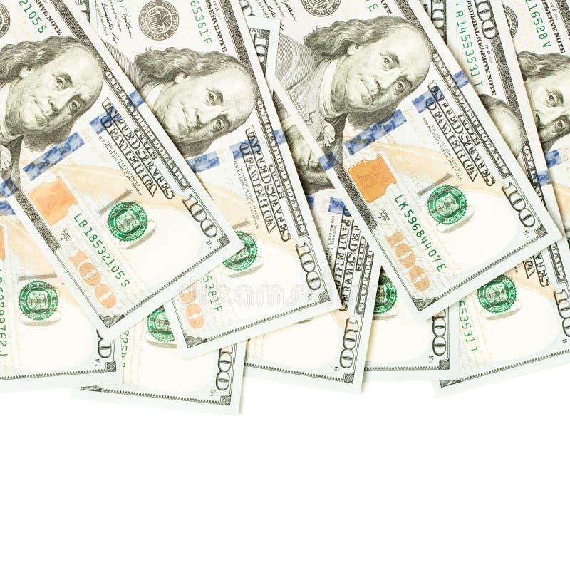 Gräns av modern hundra oss dollarräkningar US dollar på vit bakgrund royaltyfria foton