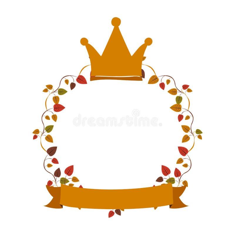 Gräns av rankor med kronan och etiketten royaltyfri illustrationer