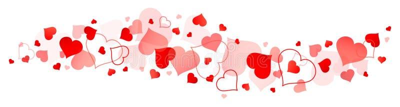 Gräns av stora och små röda hjärtor stock illustrationer
