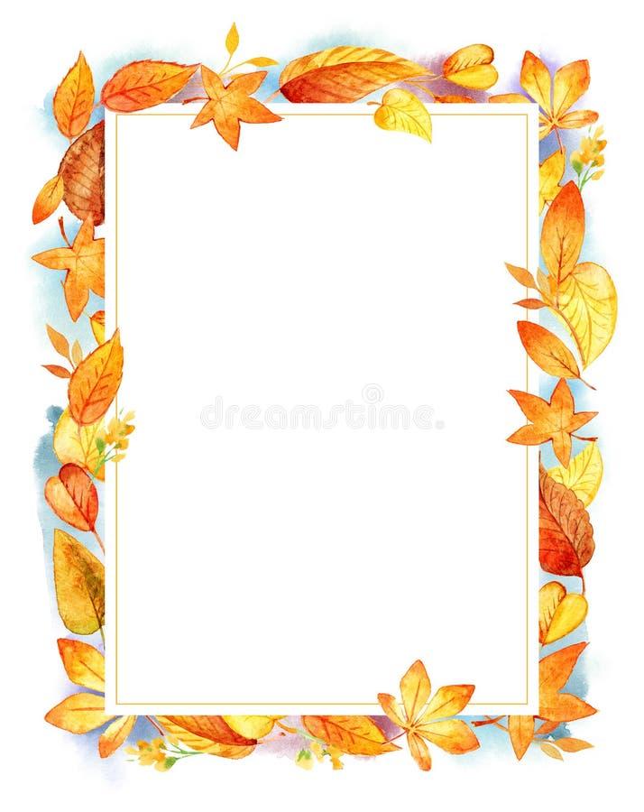 Gräns för blad för Autumn Leaves Fall Frame Template vattenfärg illustration isolerad orange Vattenfärgfläckar Mall för vektor illustrationer