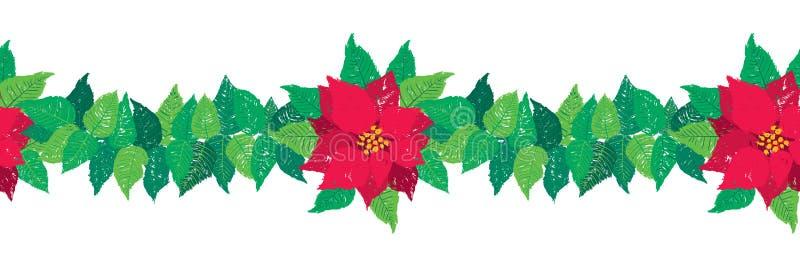 Gräns för girland för vektorjul sömlös med röda julstjärnablommor och gröna sidor royaltyfri illustrationer