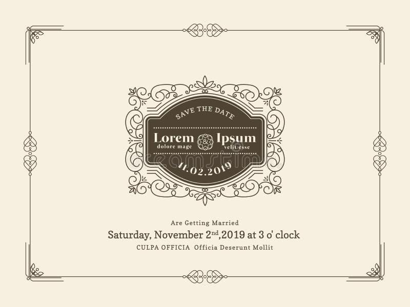 Gräns för kort för tappningbröllopinbjudan och rammall royaltyfri illustrationer