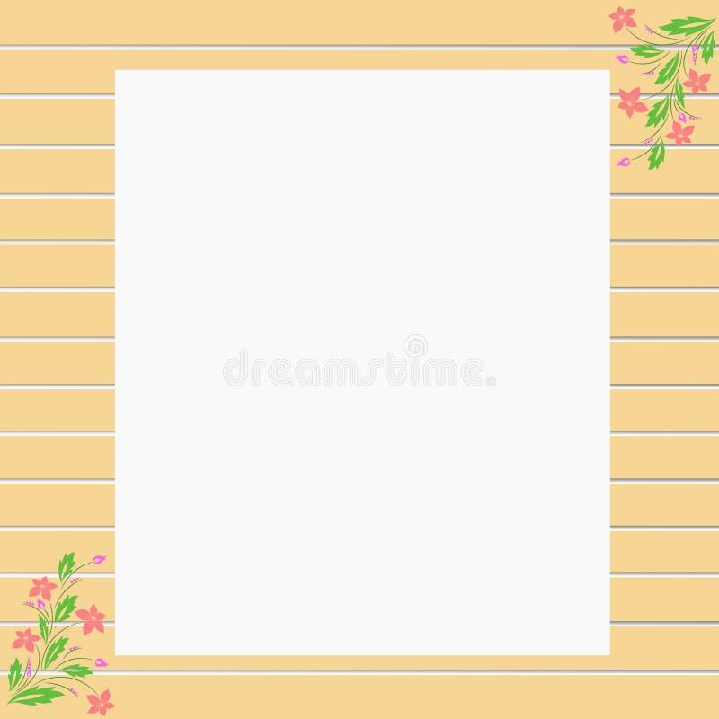 Gräns för ram för vektorbruntträvägg med blomman för text stock illustrationer