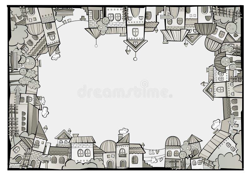 Gräns för stad för tecknad filmvektorkonstruktion vektor illustrationer