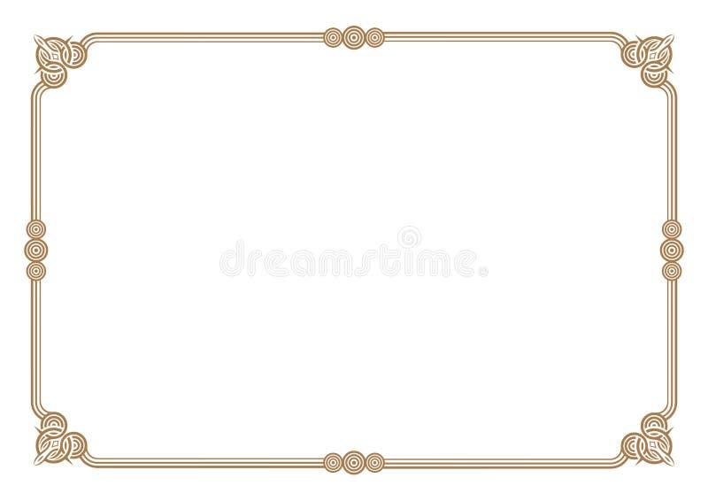 Gräns för stil för 3 band guld- & rammellanrum stock illustrationer