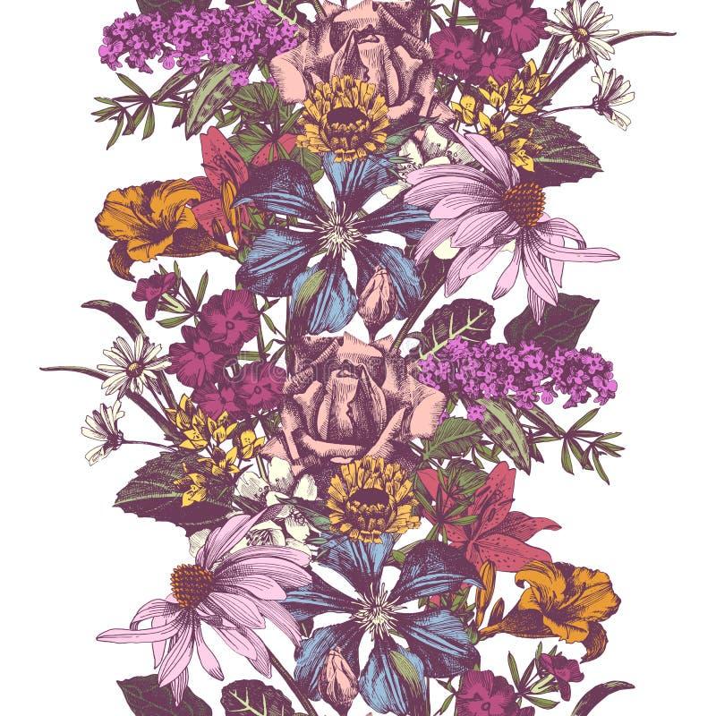 Gräns för vektor för tappning hand dragen blom- sömlös vektor illustrationer