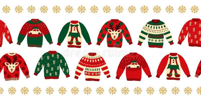 Gräns för vektor för fula jultröjor sömlös stock illustrationer