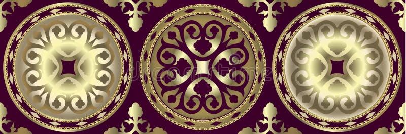 Gräns med guld- barocka beståndsdelar, guld- kedjor på en mörk bakgrund damast sömlös modell med guld- kedjor royaltyfri illustrationer