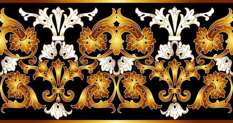 Gräns med guld- beståndsdelar Guld- sömlöst för vektor vektor illustrationer