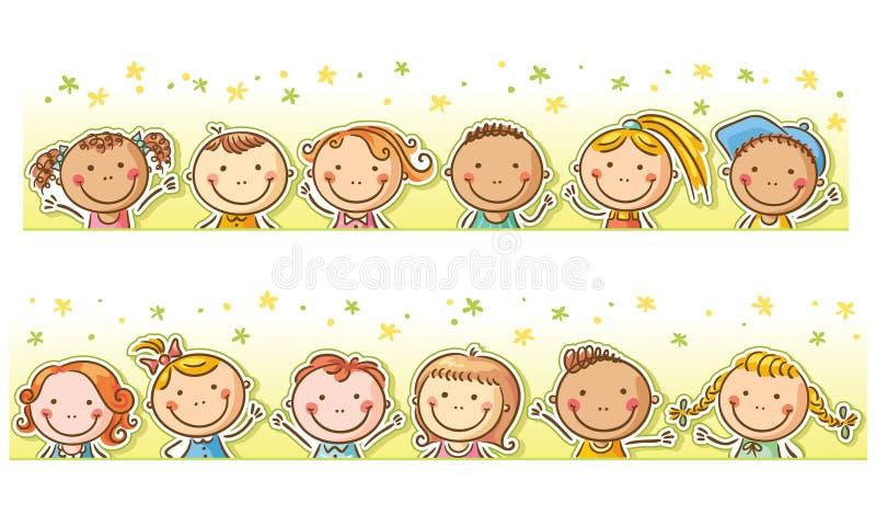 Gräns med lyckliga tecknad filmungar vektor illustrationer