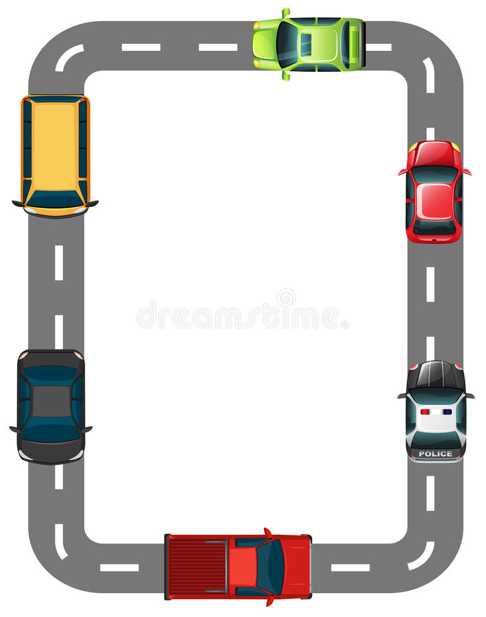 Gräns med vägen och bilar royaltyfri illustrationer