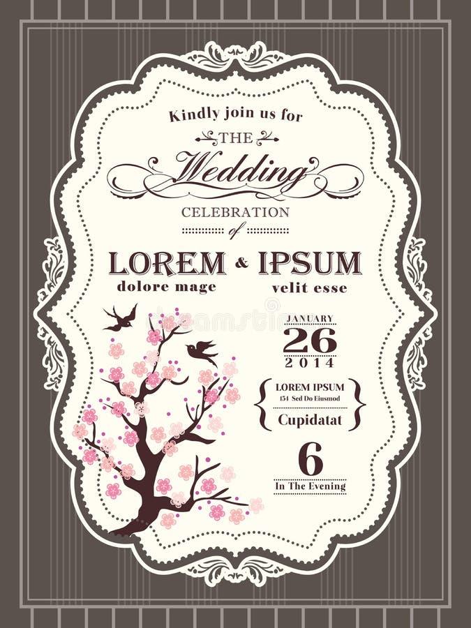 Gräns och ram för inbjudan för bröllop för körsbärsröd blomning för tappning stock illustrationer