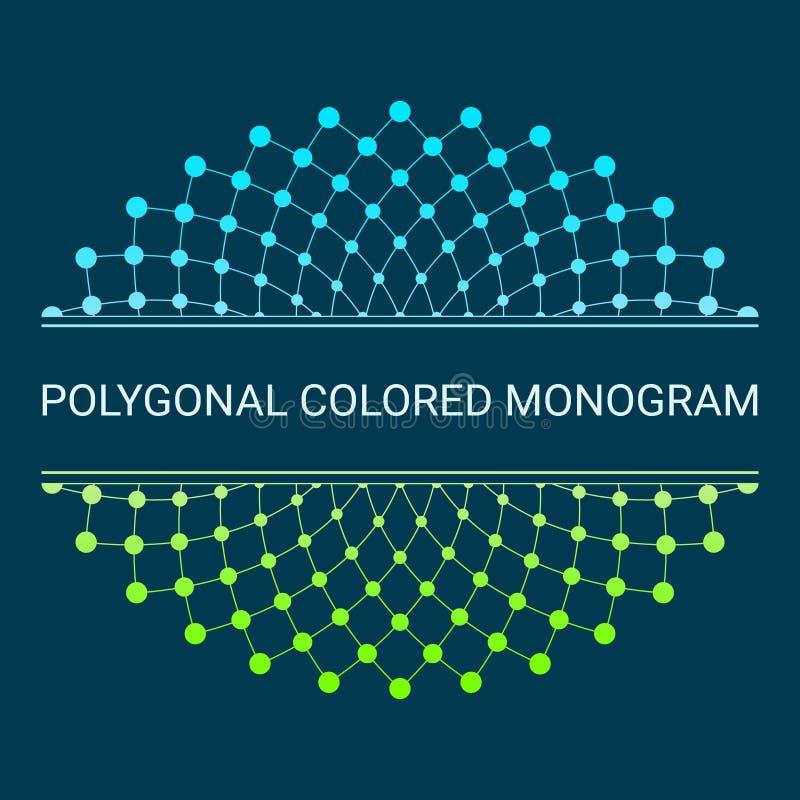Gräns och ram Minsta design Elegant malllogo i form av att väva trianglar och punkter vektor illustrationer