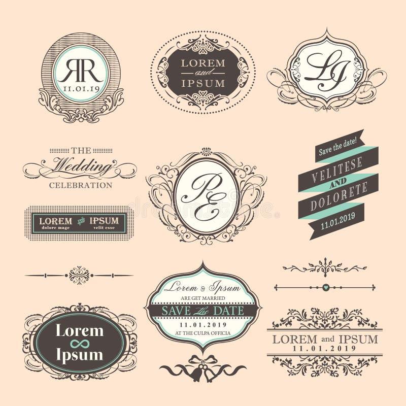 Gräns och ramar för tappningstilbröllop vektor illustrationer