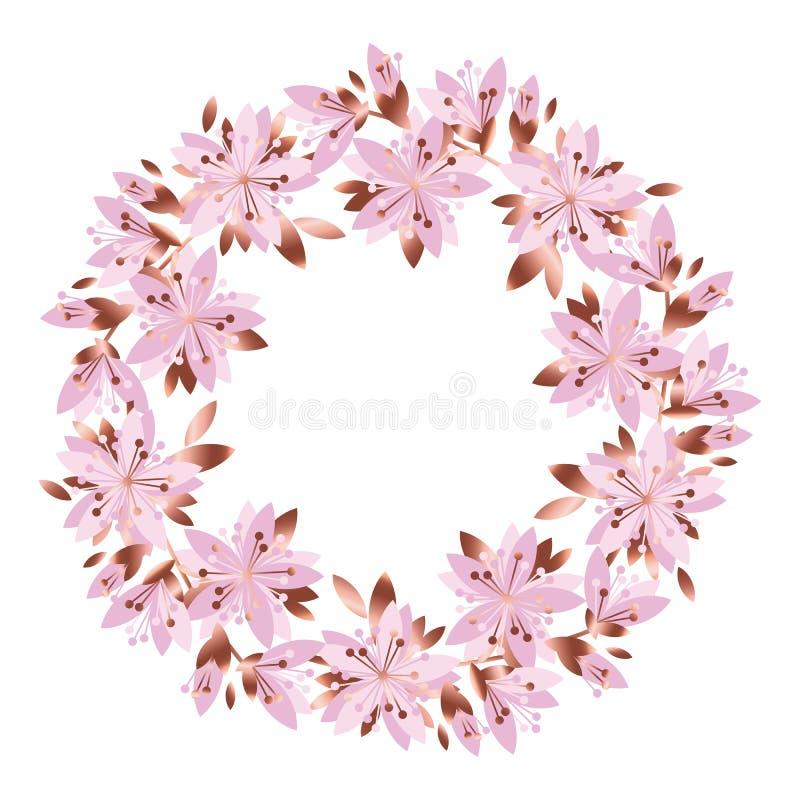 Gräns - rosa färgträdgården blommar kransen vektor illustrationer