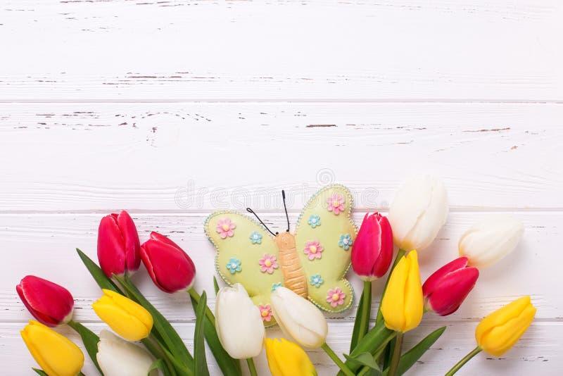 Gränsa från ljusa guling-, rosa färg- och vittulpanblommor och D arkivbild