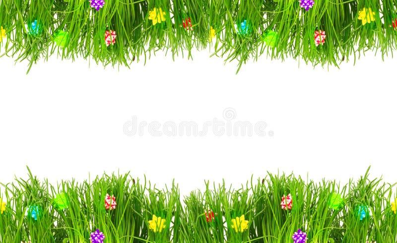 Gränsa hälsningkortet av nytt gräs för våren arkivbilder