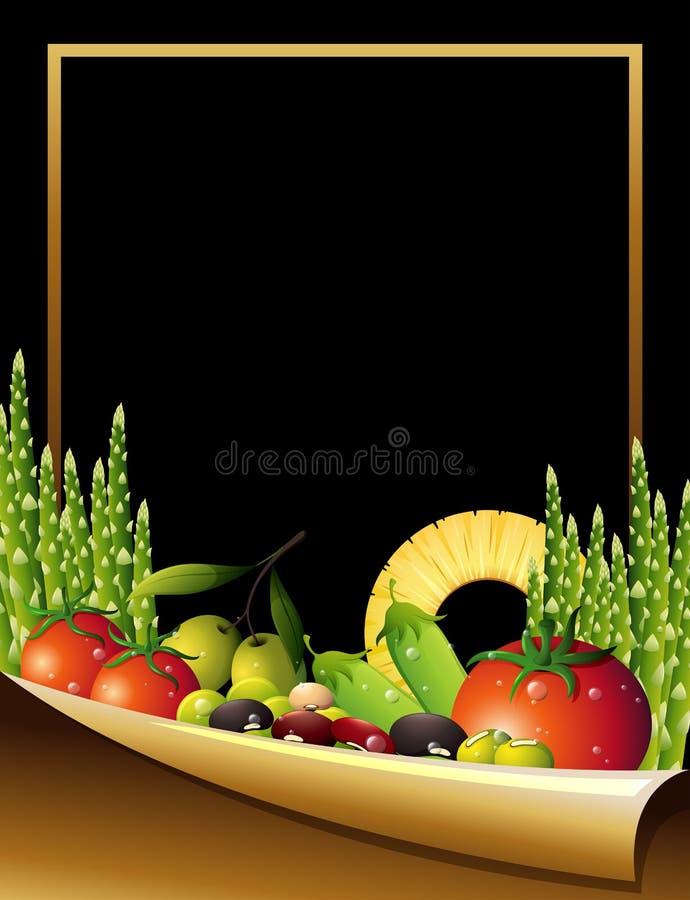 Gränsa mallen med frukter och grönsaker i bakgrund stock illustrationer