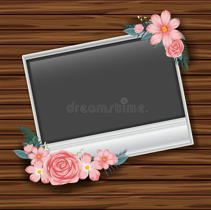 Gränsa mallen med rosa rosor på träväggen stock illustrationer