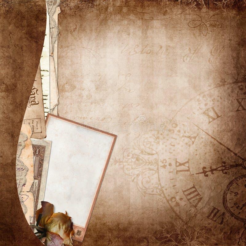 Gränsa med gamla dokument och foto på tappningbakgrund stock illustrationer