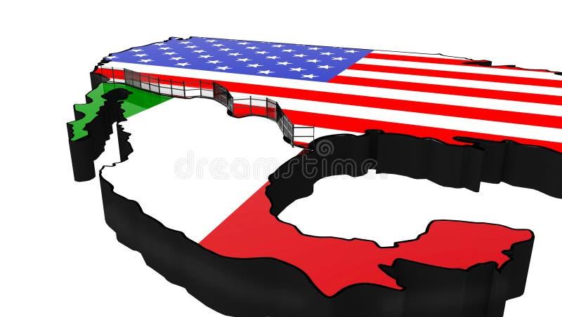 Gränsa väggen mellan Amerika och den Mexico 3d illustrationen vektor illustrationer