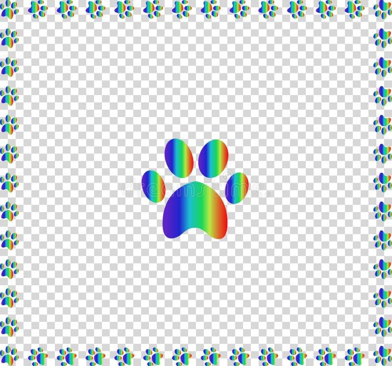 Gränsade djur s pawprint för regnbåge med den mångfärgade ramen vektor illustrationer