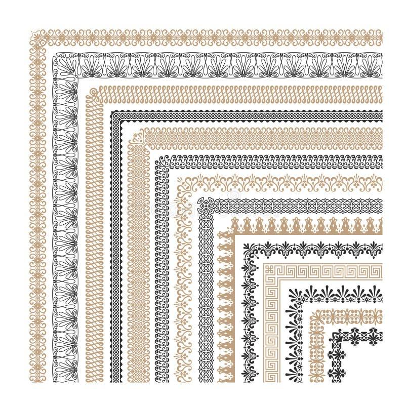 Gränsar den dekorativa ramen för sömlös tappning med hörnvektorsamlingen royaltyfri illustrationer