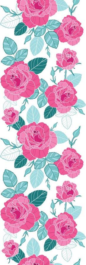 Gränsar rosa rosor för vektortappning och blåttsidor på vertikal sömlös repetitionmodell för vit bakgrund Utmärkt för retro vektor illustrationer