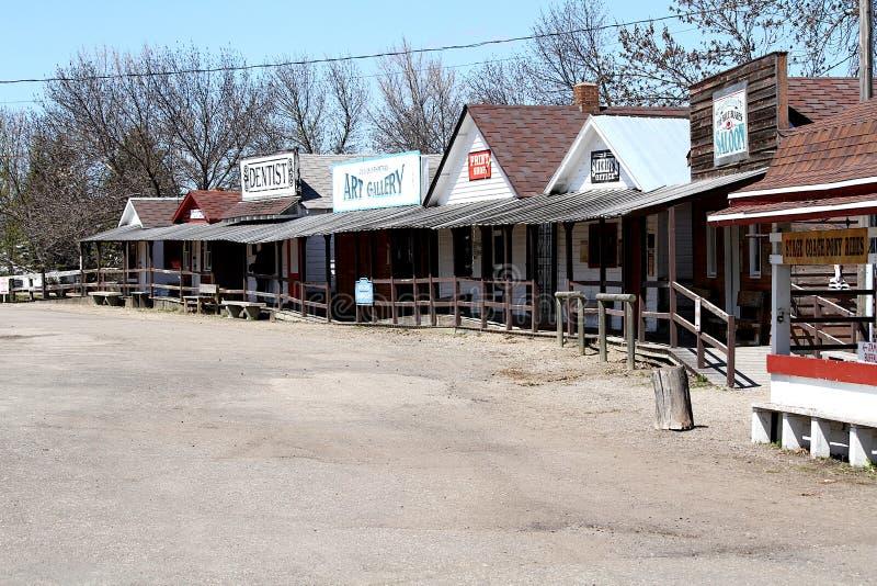 Gränsby eller banbrytande stad Jamestown, North Dakota arkivfoton