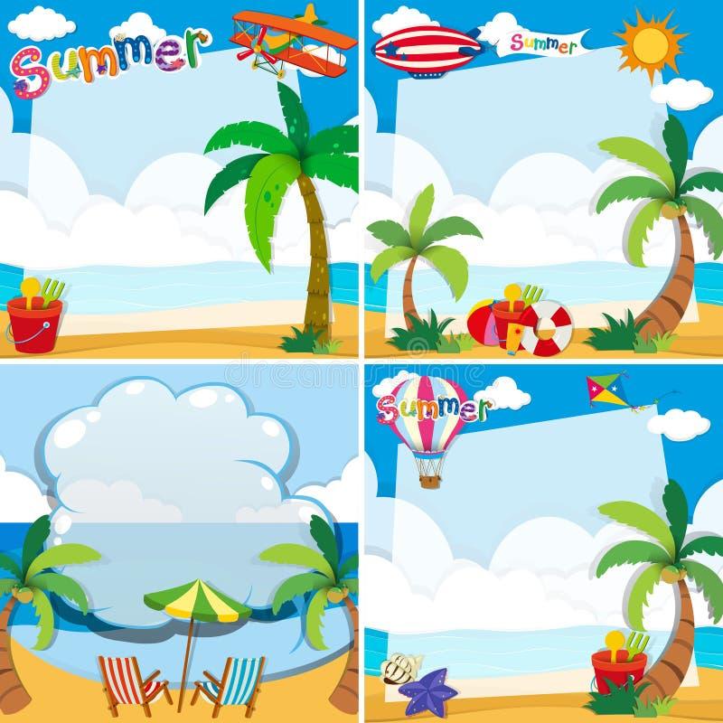 Gränsdesign med sommartema vektor illustrationer