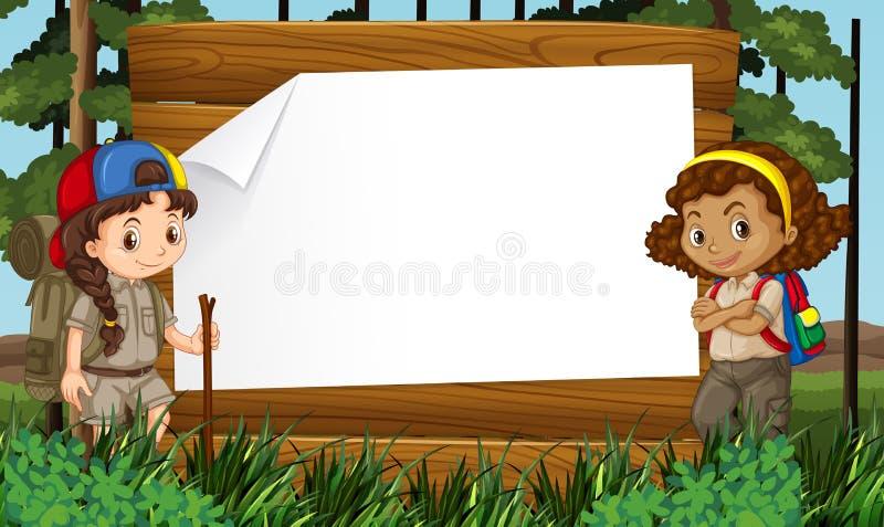 Gränsdesign med två flickor som ut campar vektor illustrationer