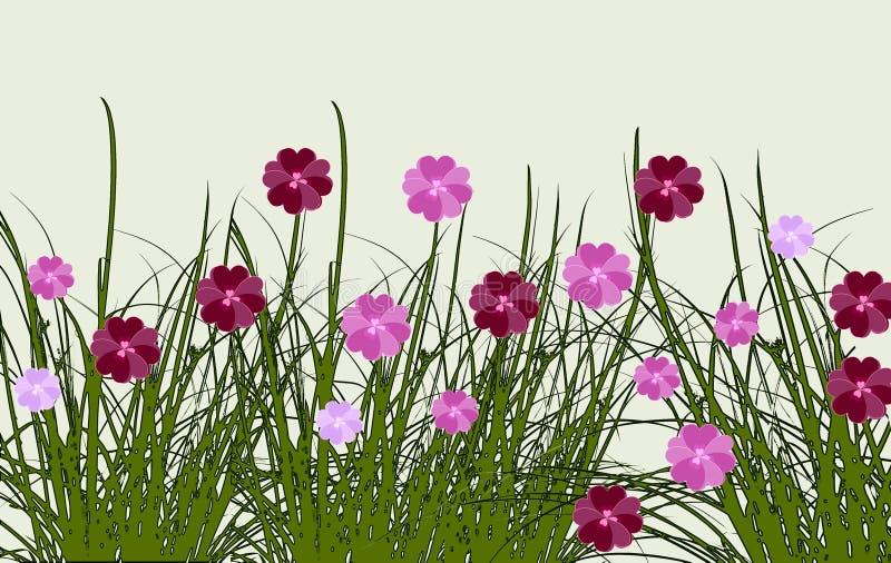 Gränsen av sommar blommar i en äng, digital konstdesign stock illustrationer