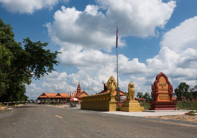 Gränsen mellan Laos och Cambodja royaltyfri foto
