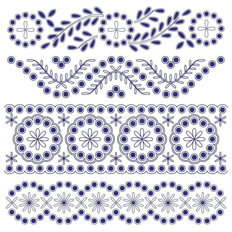 Gränser för blom- prydnad vektor illustrationer