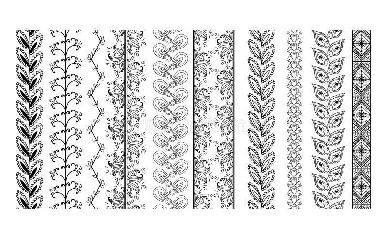 Gränser för fastställd tappning för vektor utsmyckade vektor illustrationer