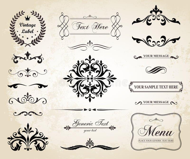 Gränser för prydnad för tappningvektor dekorativa och sidaavdelare stock illustrationer