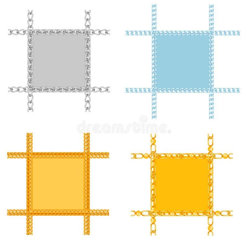 Gränser för vektor för anslutning för styrka för kedjesammanlänkning av metall anknöt delramar och det starka tecknet för järnutr vektor illustrationer