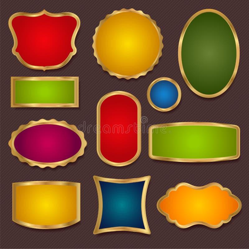 Gränser ram - färgrika vektoruppsättningbaner stock illustrationer