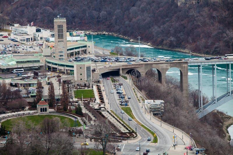 GränsgränsFörenta staterna och Kanada, Niagara Falls flyg- sikt arkivfoton