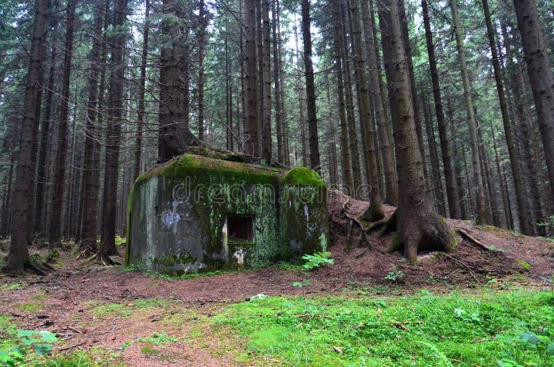 Gränsland en bunker från världskrig II arkivfoton