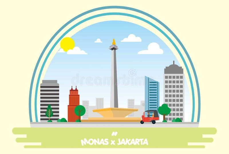 Gränsmärke asia jakarta indonesia royaltyfri illustrationer