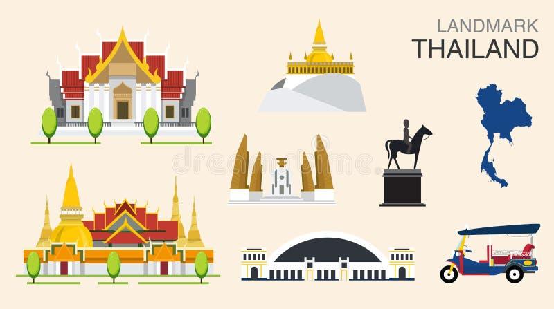 Gränsmärke av Bangkok, Thailand vektor illustrationer