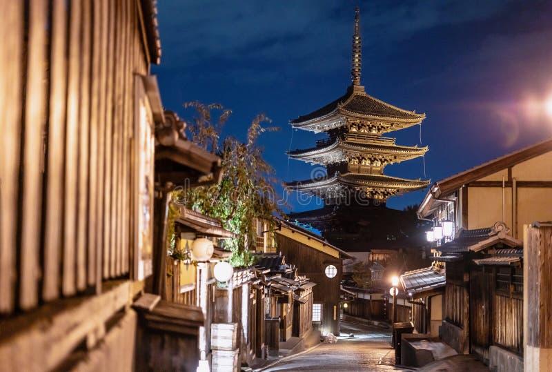 Gränsmärke för Japan loppdestination, Sanneizaka gata, Gion, Kyoto i afton arkivfoton