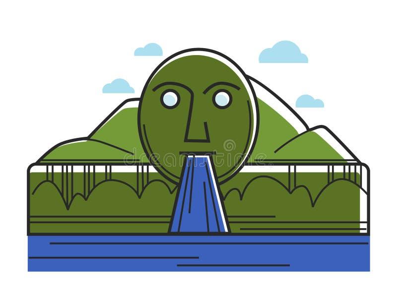 Gränsmärke för lopp för turism för Österrike Swarovski springbrunn österrikisk och berömd sightvektorsymbol stock illustrationer