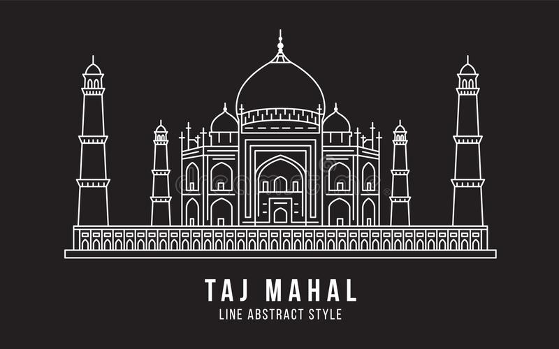 Gränsmärkebyggnadslinje design för konstvektorillustration - Taj Mahal Indien vektor illustrationer