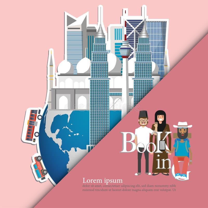 Gränsmärken av Malaysia på jordklotet Malaysia loppbegrepp Boka nu royaltyfri illustrationer