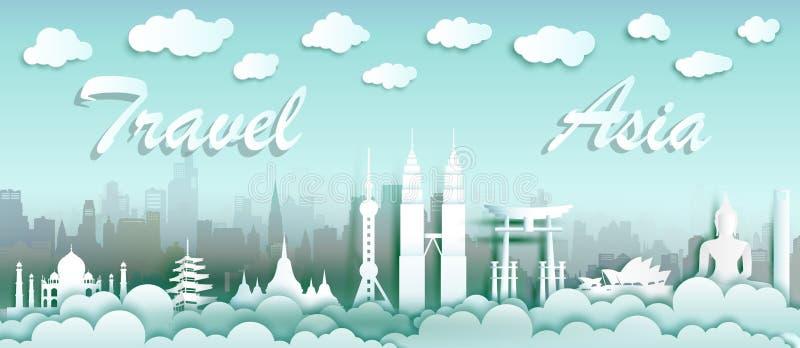 Gränsmärken av världen med stads- och turismasia bakgrund vektor illustrationer