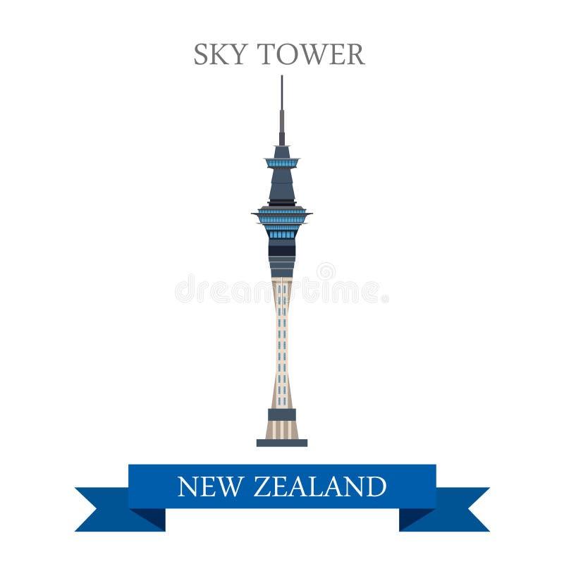 Gränsmärken för dragning för lägenhet för himmeltornAuckland nyazeeländska vektor stock illustrationer